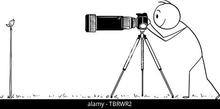 Vector cartoon stick figure drawing conceptual illustration of man with camera on tripod or photographer taking photo of small bird in nature. - Stock Photo