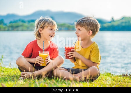 Two boys drink healthy smoothies against the backdrop of palm trees. Mango and watermelon smoothies. Healthy nutrition and vitamins for children - Stock Photo