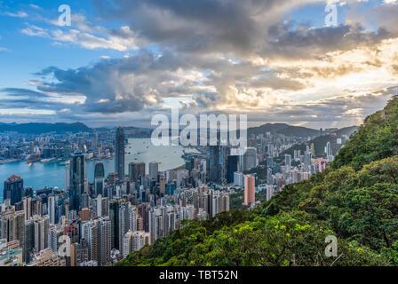 Hong Kong Victoria Harbor City skyline Stock Photo