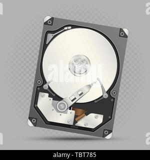 disassembled hard drive gray background - Stock Photo