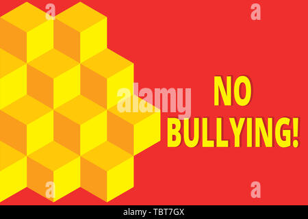 Text sign showing No Bullying. Business photo showcasing stop aggressive behavior among children power imbalance Icon colored isometric cubes half pla - Stock Photo