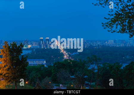 View of a large beautiful city in the early morning. Kiev. Ukraine.View of the city and the left bank from the Pechersk hills - Stock Photo