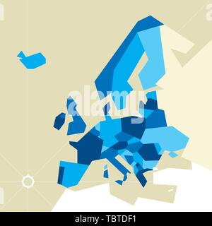 Vector illustration. Europe restricted map. Only poligons in blue tones. - Stock Photo