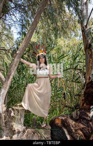 A girl model in dress Pocahontas with bow and arrow standing on the eucalyptus tree - Stock Photo