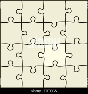 Vector illustration. Simple puzzle pieces that can separate each one. - Stock Photo