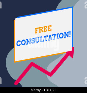 Handwriting text writing Free Consultation. Conceptual photo meeting to discuss something or to get advice without fee One blank rectangle above anoth - Stock Photo