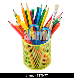 Colored pencils and various colorful stationery for school in a metal holder or cup. Isolated on white. - Stock Photo