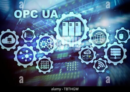 OPC Unified Architecture. Data Transmission in Industrial Networks concept. - Stock Photo