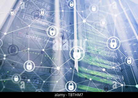 Cyber security, information privacy, data protection concept on modern server room background. Internet and digital technology concept. - Stock Photo