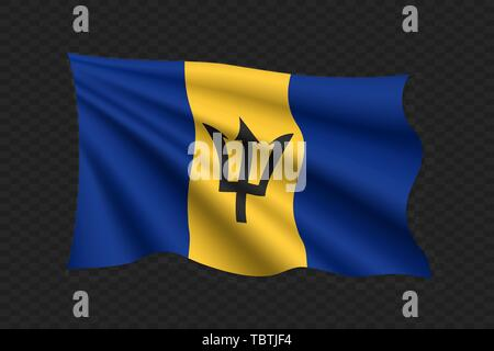 3D Waving Flag of Barbados. Vector illustration - Stock Photo