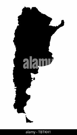 Argentina map dark silhouette isolated on white background - Stock Photo