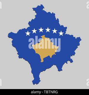 Map of Kosovo with national flag. Vector Illustration. - Stock Photo