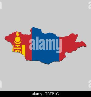 Map of Mongolia with national flag. Vector Illustration - Stock Photo
