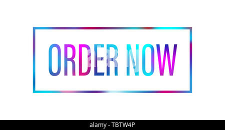 order now word with pink blue color suitable for card icon or typography logo design - Stock Photo