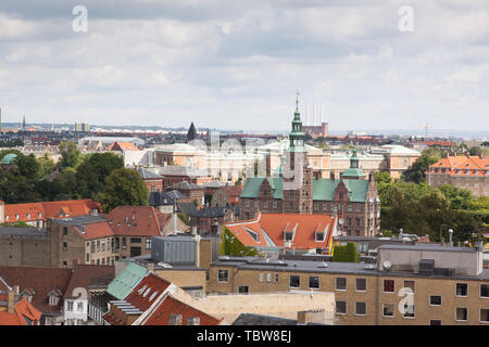 Cityscape views from the top of the Round Tower in Copenhagen, Denmark. - Stock Photo