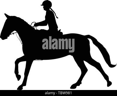 young woman riding horse silhouette. Equestrian sport. Equestrian dressage - vector - Stock Photo