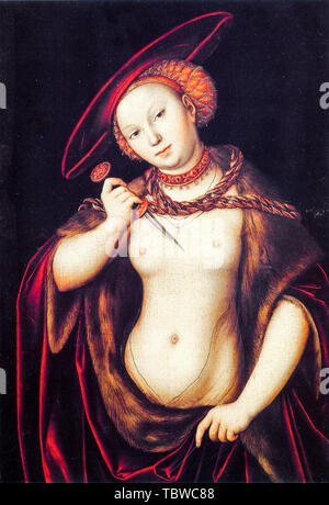 Lucas Cranach the Elder, The Suicide of Lucretia, painting, 1525 - Stock Photo