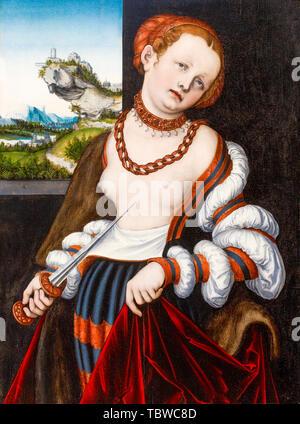 Lucas Cranach the Elder, The Suicide of Lucretia, painting, 1529 - Stock Photo