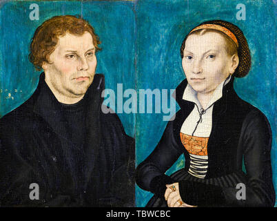 Lucas Cranach the Elder, Martin Luther and Katharina von Bora, portrait painting, 1526 - Stock Photo