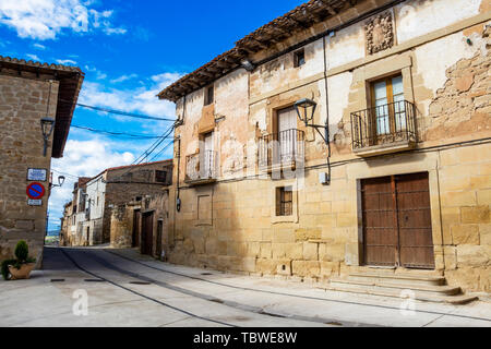 Torres del Rio street view in Navarre, Spain on the Way of St. James, Camino de Santiago on a sunny May day - Stock Photo