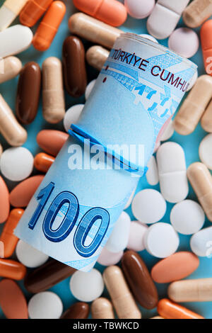 Rolled up bunch of one hundred Turkish Lira bills over the medical pills. Expensive medicine and healthcare industry concept. Overhead macro view. - Stock Photo