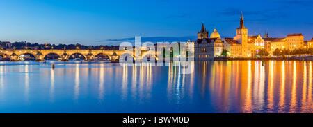 Night on the River Vltava in the Czech capital city of Prague. Czech Republic - Stock Photo