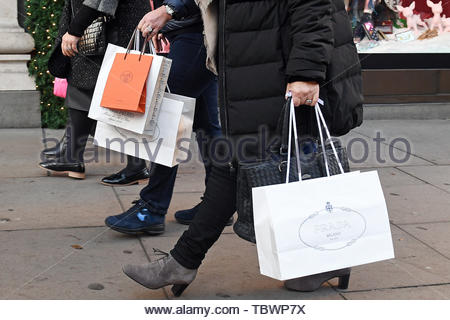 Embargoed to 0001 Tuesday June 04 File photo dated 04/12/16 of shoppers. Shoppers shunned the high street and kept their wallets closed last month, leading to sales plunging in May faster than at any time in the last 24 years, new data shows. - Stock Photo