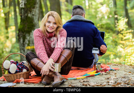 He is workaholic. Man freelance worker internet addicted gamer with laptop forest. Internet addicted husband. Working on fresh air. Surfing internet. Happy loving couple relaxing in park with laptop. - Stock Photo
