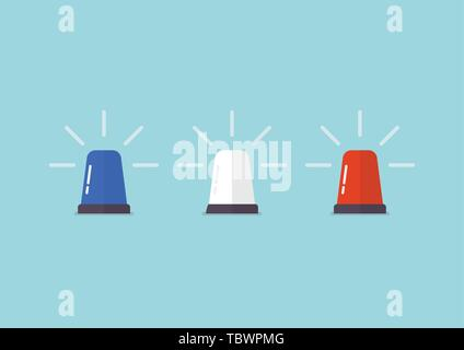 Three color police flasher siren. Vector illustration - Stock Photo
