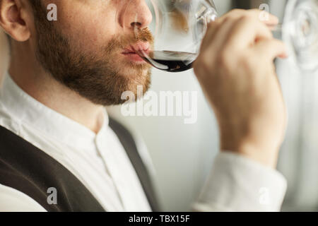 Extreme closeup of handsome bearded man drinking wine during tasting session in restaurant, copy space - Stock Photo