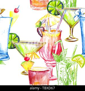 Cocktail party seamless pattern for fabric textile print design.Vector illustration. - Stock Photo