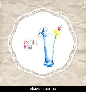 Cocktail Illustration, Vector Hand Drawn Menu Object - Stock Photo