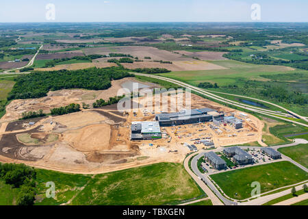 Aerial photograph of the new Verona Area High School, which will be open in 2020. Verona, Wisconsin, USA. - Stock Photo