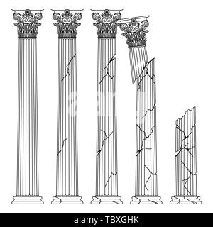ruined historical Greek antique columns with capitals of the Korinvinsky warrant vector line illustration - Stock Photo