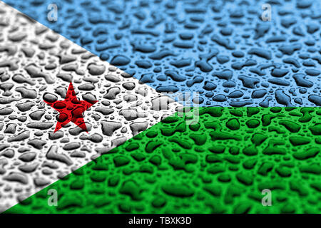 National flag of Djibouti made of water drops. Background forecast concept. - Stock Photo