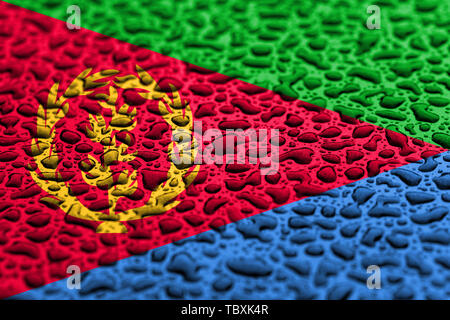 National flag of Eritrea made of water drops. Background forecast concept. - Stock Photo