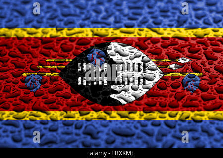 National flag of Swaziland made of water drops. Background forecast concept. - Stock Photo