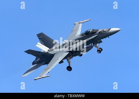 Royal Australian Air Force (RAAF) McDonnell Douglas F/A-18A Hornet multirole fighter aircraft A21-48. - Stock Photo