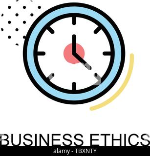 Business ethics icon  with clock on white background illustration design.vector - Stock Photo