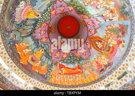 Nakhon Sawan, Thailand - May 10, 2019: mural art on ceiling in Prachulamanee Pagoda of Wat Khiriwong, Nakhon Sawan Province, Thailand. - Stock Photo