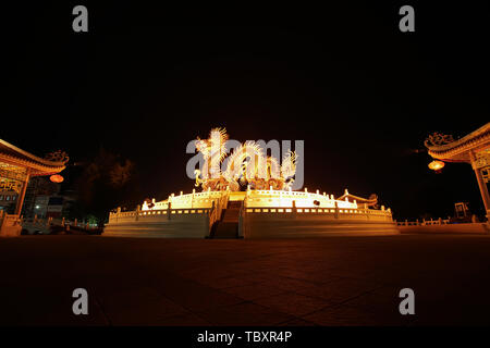 Nakhon Sawan, Thailand - May 10, 2019: Gorgeous dragon statue in Sawan Park, Nakhon Sawan privince, Thailand. - Stock Photo