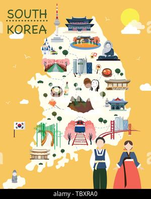 Map Of Korea Attractions Vector And Illustration. - Stock Photo