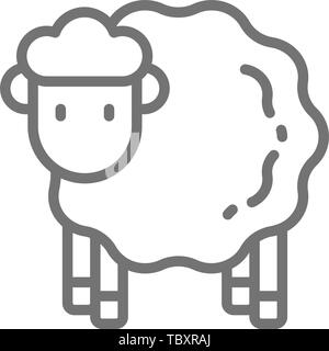 Vector sheep, lamb line icon. - Stock Photo
