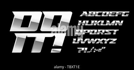 Silver letters and symbols set on black background. Metal style vector latin alphabet. Font for automotive or bodybuilding sport. Typography design. - Stock Photo