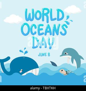 whale , dolphin , shark and turtle in the ocean with text World Oceans Day. vector of marine life for celebration dedicated to help protect, and conse - Stock Photo