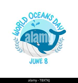 vector of logo for world ocean day with whale spray water in circle.  world ocean day on June 8 for celebration dedicated to help protect, and conserv - Stock Photo