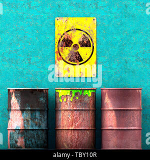 Storage radioactive waste, barrels resting on a wall, sign with radioactivity symbol, nuclear material. 3d rendering - Stock Photo