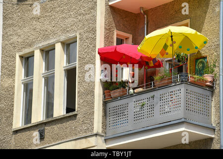Balcony, sunshades, old building, Stargarder street, Prenzlauer mountain, Pankow, Berlin, Germany, Balkon, Sonnenschirme, Altbau, Stargarder Straße, P - Stock Photo