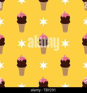 Ice cream cone seamless art yellow pattern background - Stock Photo