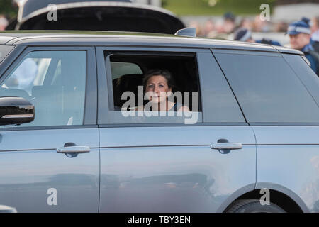 London, UK. 03rd June, 2019. A VIP guest looks gloomily at the protestors - People protest the visit of Donald Trump, the US President, outside Buckingham palace. Ahead of the State Dinner. Credit: Guy Bell/Alamy Live News - Stock Photo